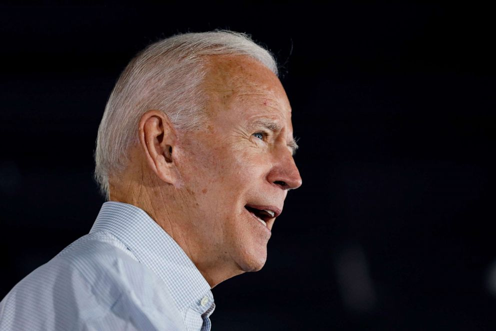 PHOTO: Democratic presidential candidate and former Vice President Joe Biden speaks at a community event, July 17, 2019, in Council Bluffs, Iowa.