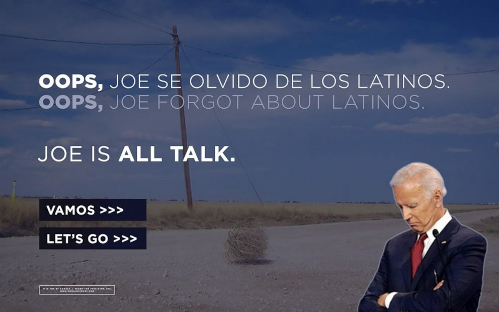 PHOTO: The landing page for the Donald J. Trump for President campaign. The Trump campaign said they bought the URL for the Biden campaigns newly announced Latino voter outreach effort Todos Con Biden.
