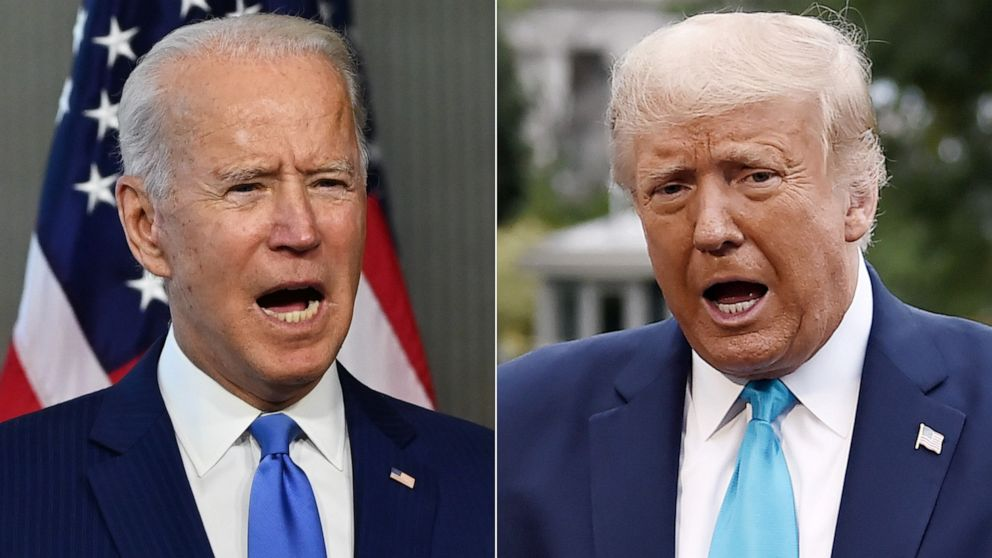 PHOTO: Former Vice President Joe Biden, left, and President Donald Trump, right.