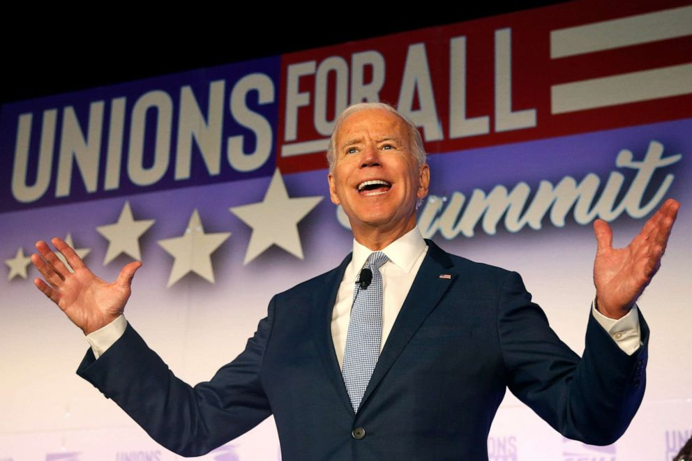 PHOTO: Former Vice President and Democratic presidential candidate Joe Biden speaks at the SEIU Unions For All Summit on Friday, Oct. 4, 2019, in Los Angeles.