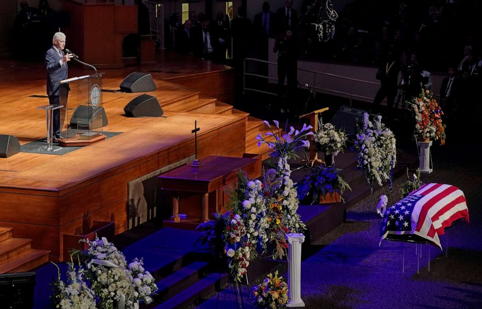 PHOTO: Former President Bill Clinton speaks during funeral services for late Rep. Elijah Cummings at the New Psalmist Baptist Church in Baltimore, Oct. 25, 2019.