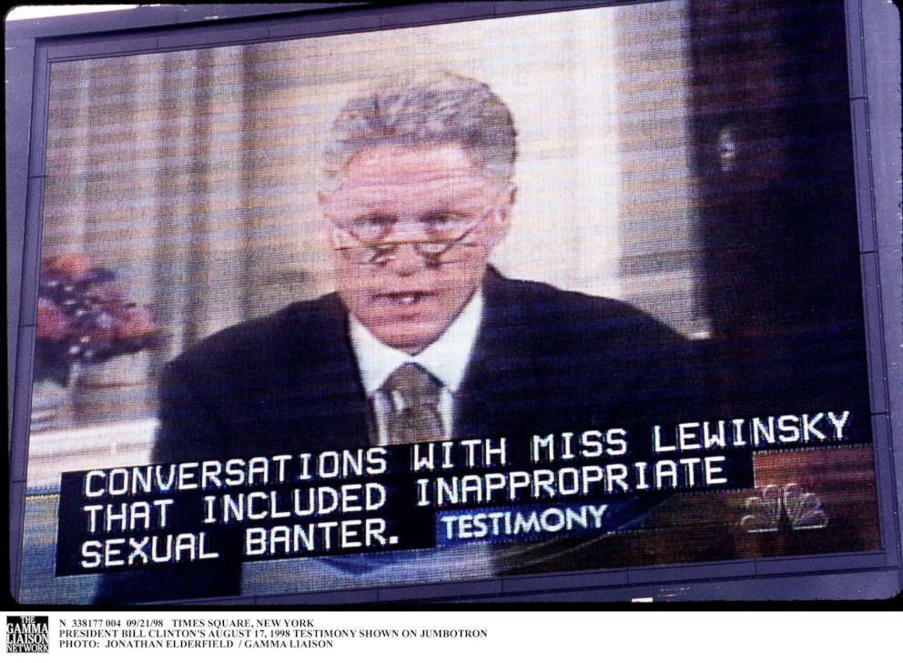 PHOTO: A TV monitor broadcasts President Bill Clintons Grand Jury testimony on the Monica Lewinsky affair, New York City, Sept. 21, 1998.