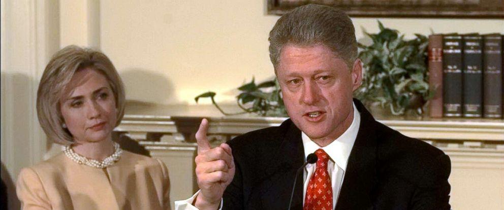 PHOTO: President Bill Clinton shakes his finger as he denies improper behavior with Monica Lewinsky, in the White House Roosevelt Room, Jan. 26, 1998.