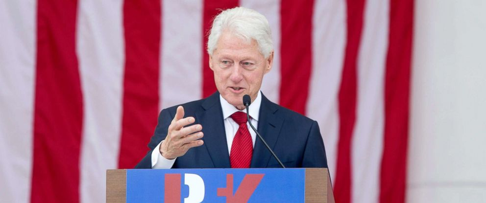 PHOTO: Former President Bill Clinton speaks during the Robert F. Kennedy memorial service at Arlington National Cemetery in Arlington, Virginia, June 6, 2018.