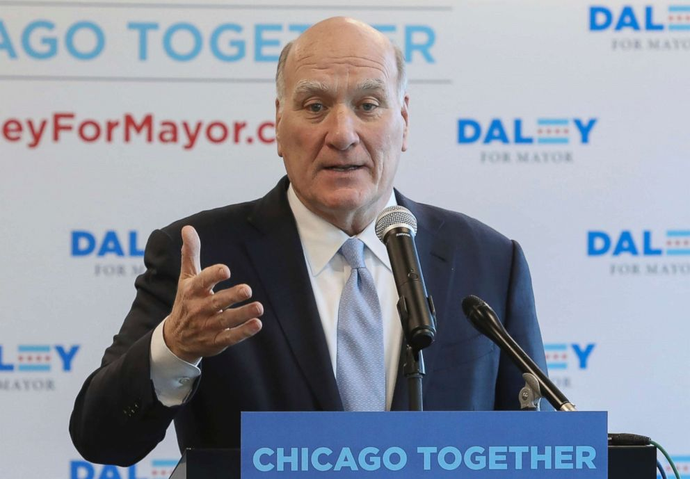 Bill Daley speaks during a news conference in Chicago, Feb. 8, 2019.