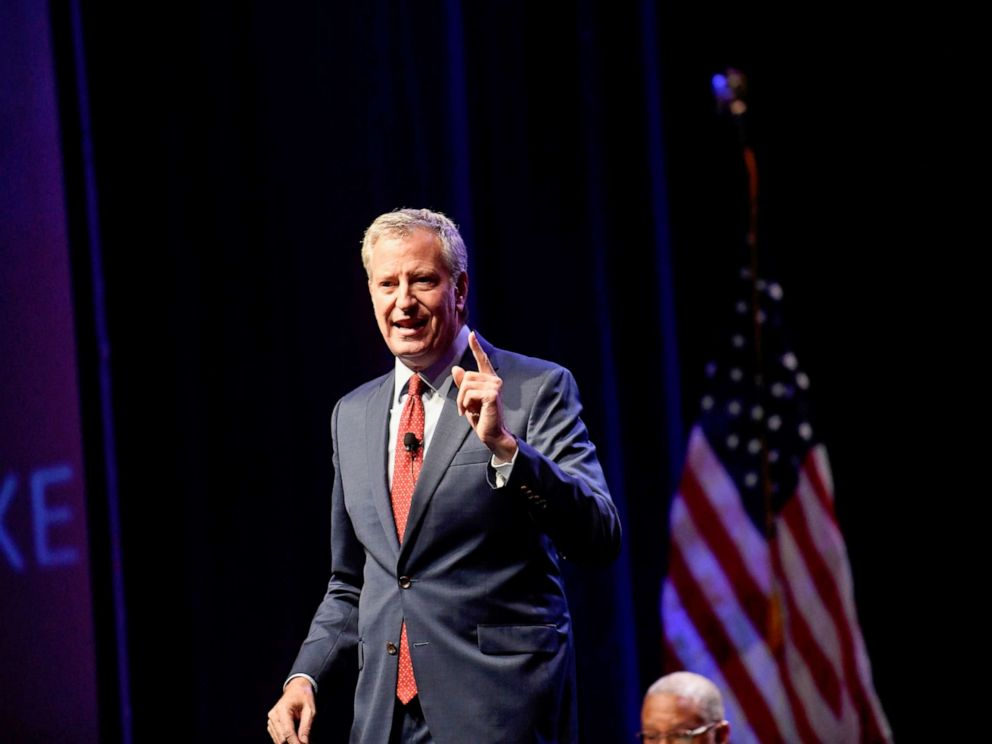 PHOTO: New York City Mayor Bill de Blasio speaks during the AFL-CIO Workers Presidential Summit in Philadelphia, Sept. 17, 2019.