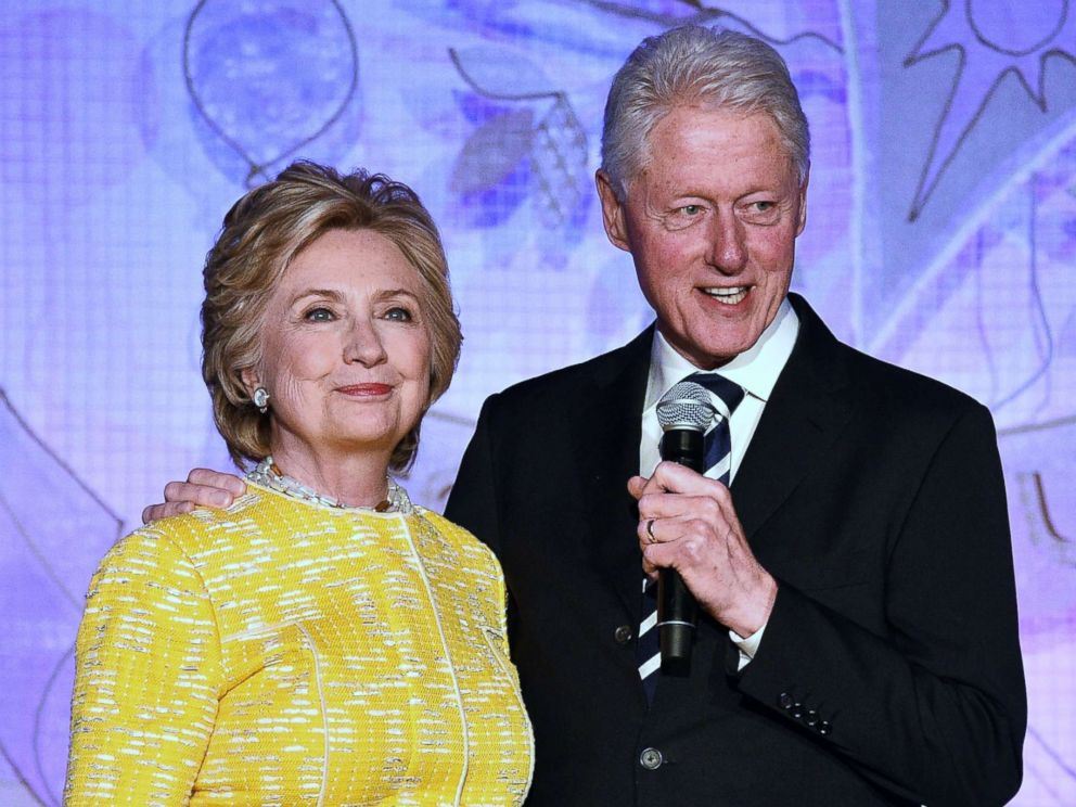 PHOTO: Former United States Secretary of State Hillary Clinton and President Bill Clinton speak onstage at an event in New York, May 23, 2017.