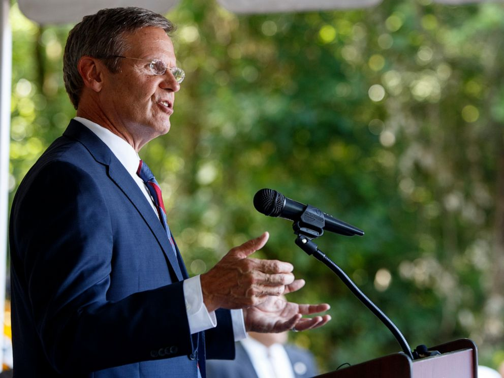 PHOTO: Tennessee Gov. Bill Lee speaks during a groundbreaking ceremony for the new Chattanooga Red Wolves Soccer Club stadium on Tuesday, July 9, 2019 in East Ridge, Tenn.
