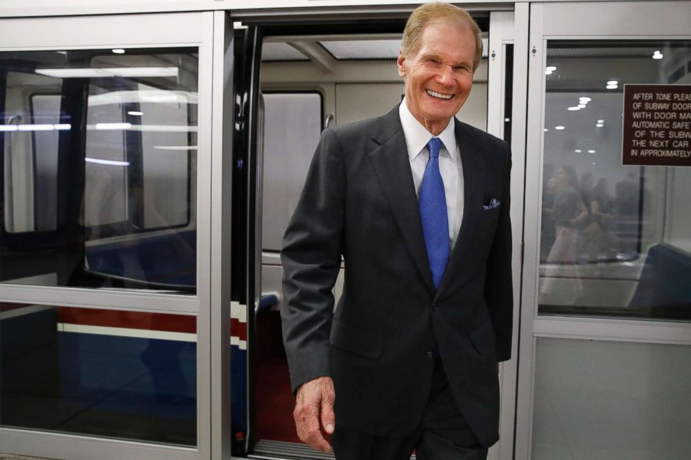 PHOTO: Sen. Bill Nelson exits the Senate subway en route to a vote on Capitol Hill, June 20, 2018, in Washington.