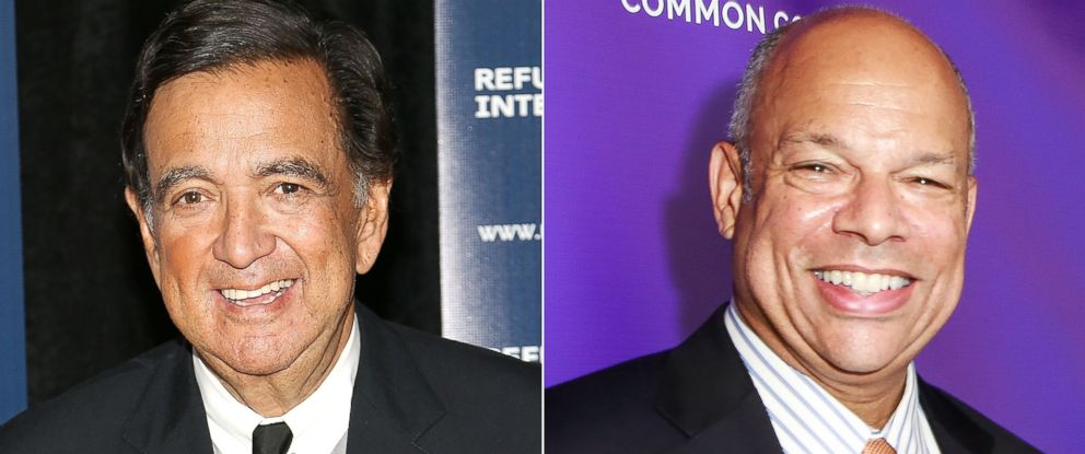 PHOTO: Governor Bill Richardson arrives at a dinner event, April 26, 2016 in Washington, DC. and Jeh Johnson poses Sept. 15, 2017 in New York City.
