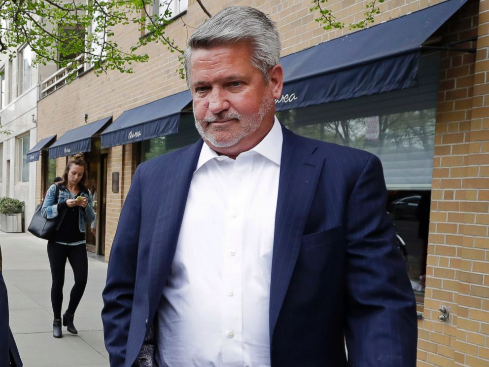 In this April 24, 2017, file photo, then-Fox News co-president Bill Shine, right, leaves a New York restaurant. President Donald Trump is expected to name Shine as director of White House press and communications.