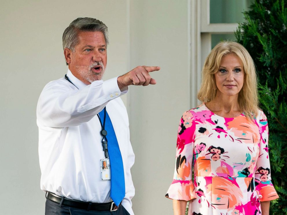 White House Dep. Chief of Staff for Communications Bill Shine responds to questions about the White House banning CNN reporter Kaitlan Collins from an event outside the West Wing of the White House in Washington, July 26. 2018.