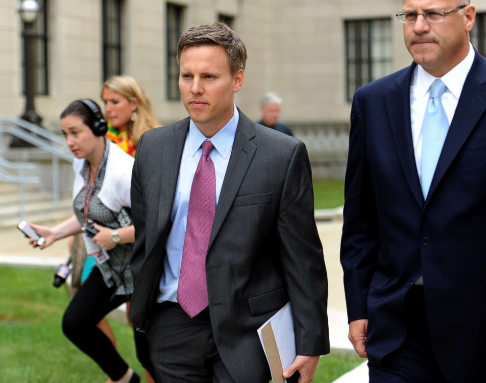 PHOTO: Bill Stepien, former campaign manager for Governor Chris Christie and his attorney leave the State House before the New Jersey Select Commission on Investigation looking into the closure of lanes on the G.W. Bridge, Trenton, N.J., June 9, 2014.
