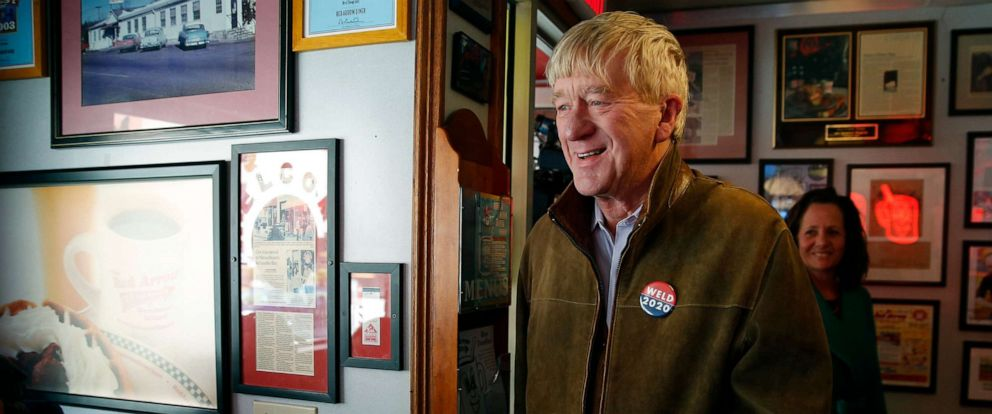PHOTO: Former Massachusetts Governor William Weld arrives at a campaign stop at the Red Arrow Diner in Manchester, NH, April 16, 2019.