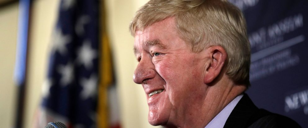 "PHOTO: In this Friday, Feb. 15, 2019, file photo, former Massachusetts Gov. William Weld speaks during a New England Council ""Politics & Eggs"" breakfast in Bedford, N.H."