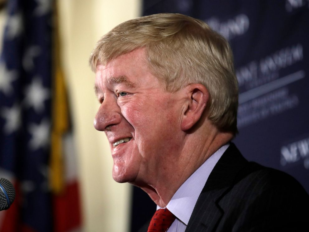 PHOTO: In this Friday, Feb. 15, 2019, file photo, former Massachusetts Gov. William Weld speaks during a New England Council Politics & Eggs breakfast in Bedford, N.H.