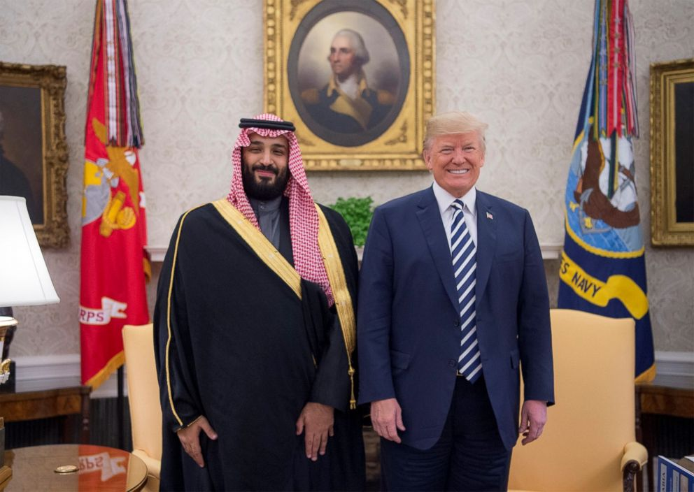 PHOTO: President Donald Trump poses for a photo with Crown Prince Mohammed bin Salman Al Saud of Saudi Arabia in the Oval Office at the White House on March 20, 2018 in Washington.