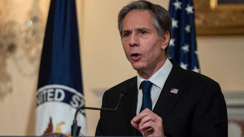 ФОТО: Государственный секретарь Энтони Блинкен выступает с замечаниями о приоритетах администрации президента Джо Байдена в Государственном департаменте в Вашингтоне, округ Колумбия, 3 марта 2021 года.