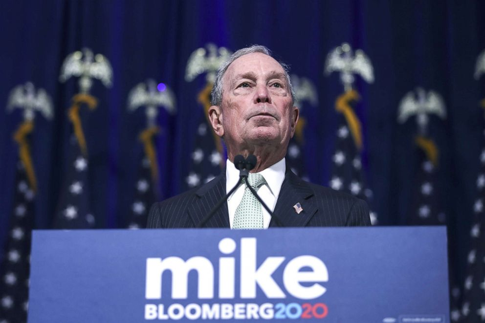 PHOTO: Democratic presidential candidate, former New York Mayor Michael Bloomberg speaks during a press conference to discuss his presidential run, Nov. 25, 2019, in Norfolk, Va.