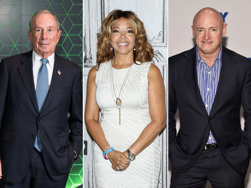 PHOTO: Michael Bloomberg, left, Rep. Lucy McBath and Mark Kelly.