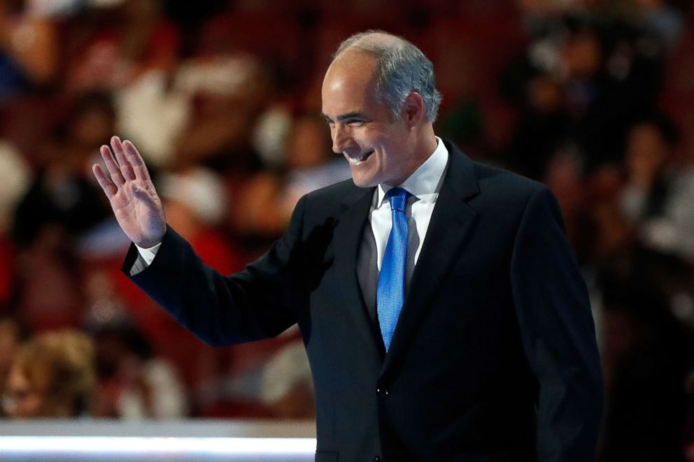 Sen. Bob Casey walks on stage to deliver remarks on the first day of the Democratic National Convention at the Wells Fargo Center, July 25, 2016 in Philadelphia.