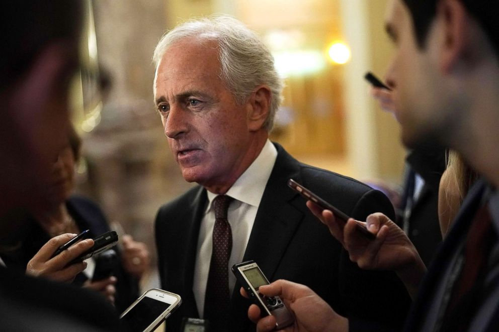 PHOTO: Sen. Bob Corker speaks to members of the media after a weekly Senate Republican Policy Luncheon at the Capitol on May 8, 2018, in Washington.