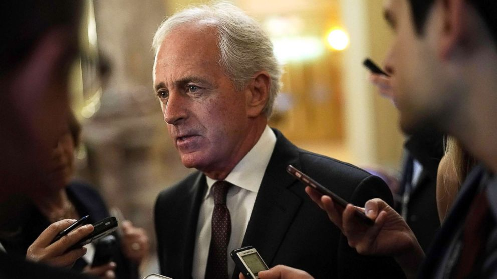 Sen. Bob Corker speaks to members of the media after a weekly Senate Republican Policy Luncheon at the Capitol May 8, 2018 in Washington.