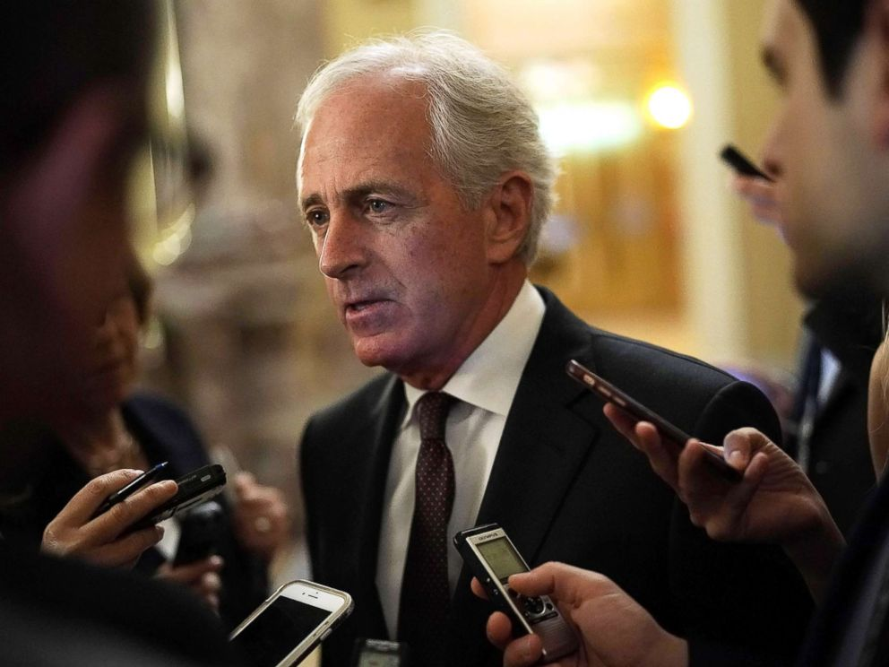 PHOTO: Sen. Bob Corker speaks to members of the media after a weekly Senate Republican Policy Luncheon at the Capitol May 8, 2018 in Washington.