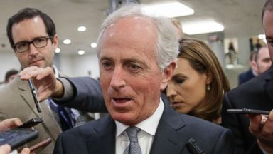 'PHOTO: Senate Foreign Relations Committee Chairman Bob Corker talks to reporters as he returns to his office from a vote, on Capitol Hill in Washington, Oct. 25, 2017.' from the web at 'https://s.abcnews.com/images/Politics/bob-corker-ap-jc-171025_16x9t_384.jpg'