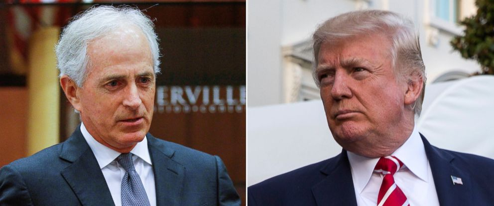 PHOTO: Pictured (L-R) are Sen. Bob Corker in Sevierville, Tenn., Aug. 16, 2017 and President Donald Trump in Washington, D.C., Oct. 7, 2017.