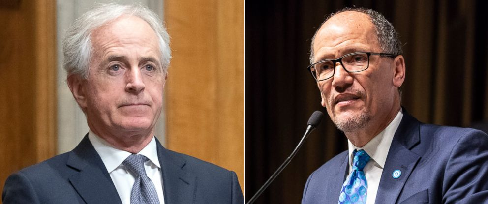 PHOTO: Pictured (L-R) are Sen. Bob Corker in Washington, D.C., April 12, 2018 and DNC Chairman Tom Perez in New York, April 18, 2018.