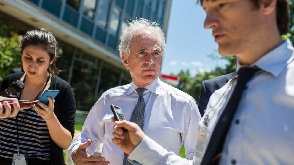 Sen. Bob Corker talks with reporters before the Republican Senate Policy luncheon at the National Republican Senatorial Committee, June 12, 2018.