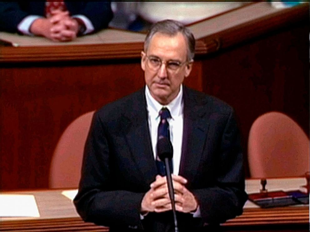 PHOTO: Then-House Speaker nominee Rep. Bob Livingston, R-La., speaks during the House session on the four articles of impeachment against former President Bill Clinton in Washington, D.C., Dec. 19, 1998.