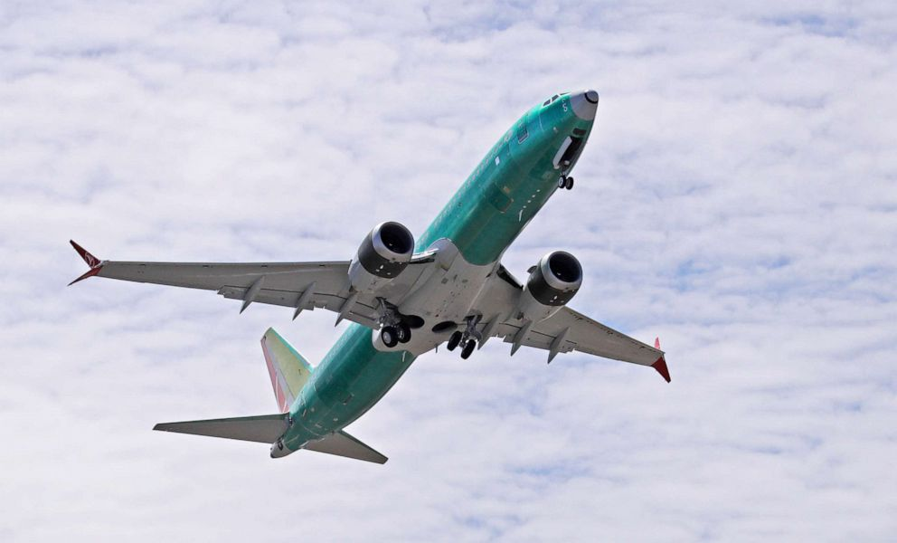 PHOTO: A Boeing 737 MAX 8 jetliner takes off on a test flight in Renton, Wash.