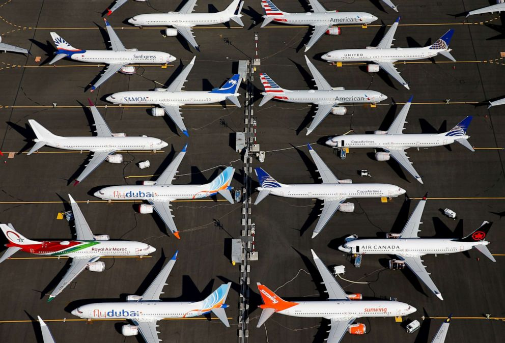 PHOTO: In this July 1, 2019, file photo, grounded Boeing 737 MAX aircraft are seen parked at Boeing Field in Seattle, Wash.