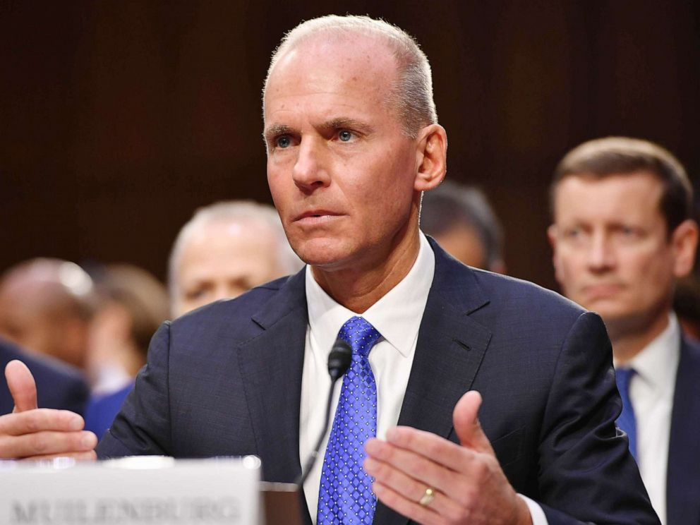 PHOTO: Dennis Muilenburg testifies before the Senate Committee on Commerce, Science, and Transportation on Aviation Safety and the Future of Boeings 737 MAX in the Hart Senate Office Building on Capitol Hill in Washington, D.C., Oct. 29, 2019.
