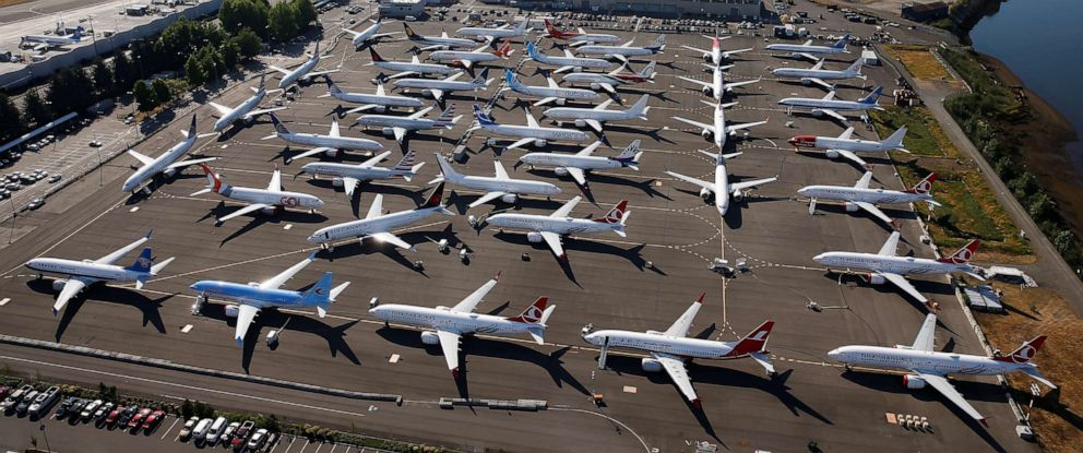 PHOTO: Grounded Boeing 737 MAX aircraft are seen parked in an aerial photo at Boeing Field in Seattle, July 1, 2019.