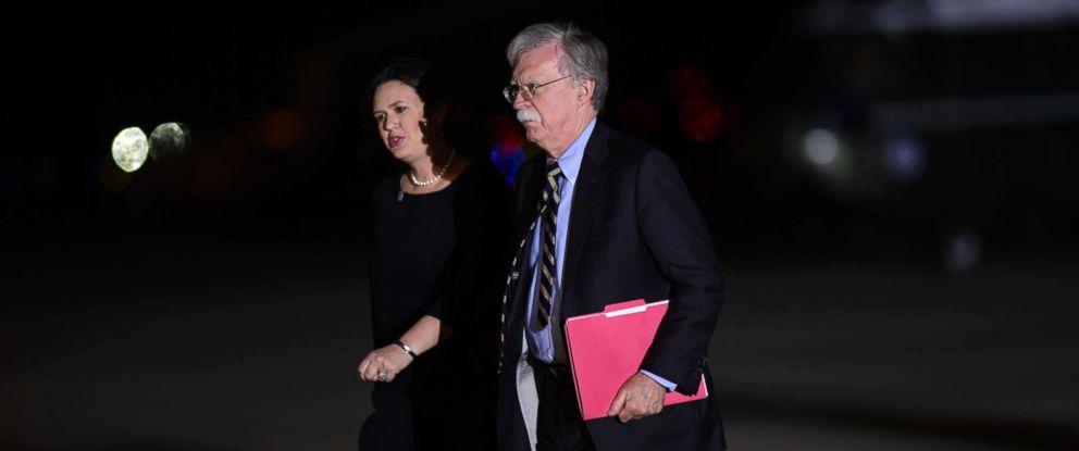 b505b301 PHOTO: White House press secretary Sarah Huckabee Sanders and national  security adviser John Bolton arrive