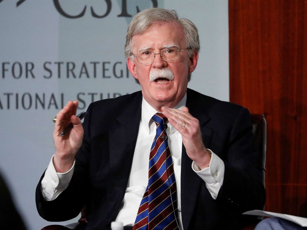 PHOTO: In this Sept. 30, 2019, file photo, former national security adviser John Bolton gestures while speaking at the Center for Strategic and International Studies in Washington, D.C.