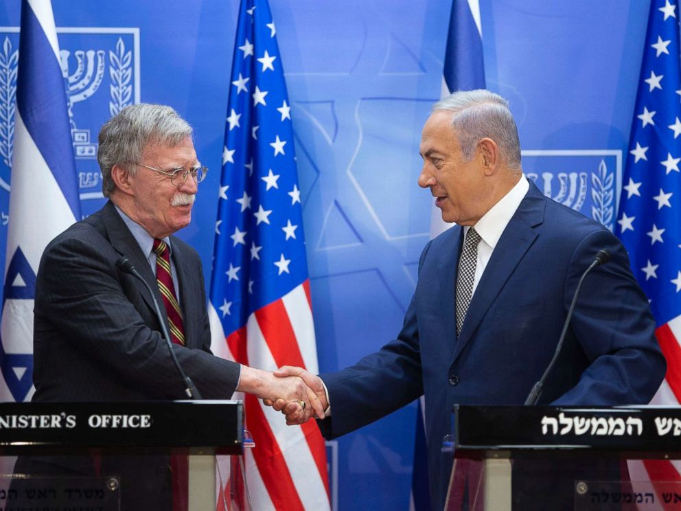 PHOTO: Israeli Prime Minister Benjamin Netanyahu, right, shakes hands with U.S. national security adviser John Bolton during their meeting at the Prime Ministers office in Jerusalem, Aug. 20, 2018.