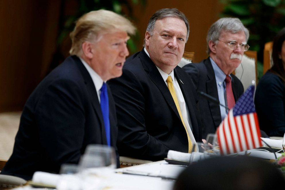 PHOTO: Secretary of State Mike Pompeo, center, and national security adviser John Bolton, right, listen as President Donald Trump speaks during a meeting with Vietnamese Prime Minister Nguyen Xuan Phuc, Feb. 27, 2019, in Hanoi, Vietnam.