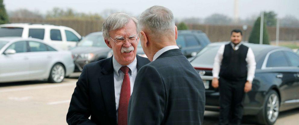 PHOTO: Secretary of Defense James Mattis greets Ambassador John Bolton, President Donald Trumps nominee to be National Security Advisor, as he arrives at the Pentagon, March 29, 2018.