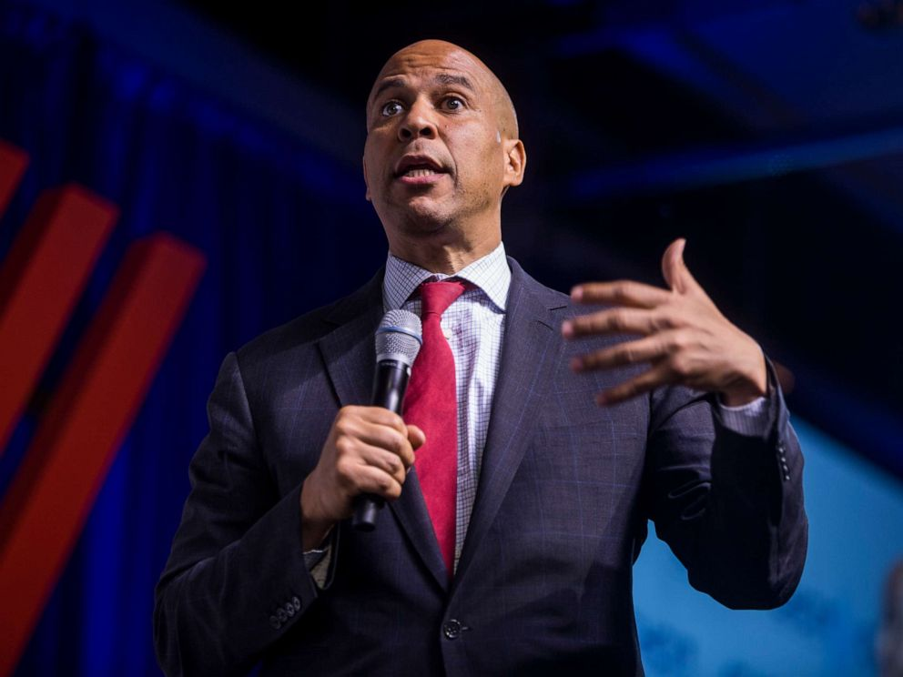 PHOTO: Democratic Presidential Candidate Sen. Cory Booker speaks during a presidential forum hosted by the Congressional Hispanic Caucus Institute on September 10, 2019 in Washington, DC.