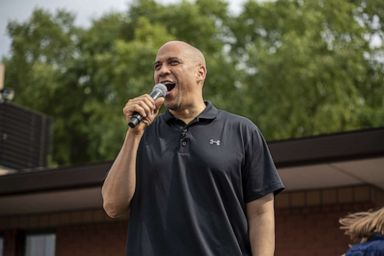 PHOTO: Democratic presidential candidate U.S. Sen. Cory Booker speaks to a crowd at the Iowa State Fair, Aug. 10, 2019, in Des Moines, Iowa.