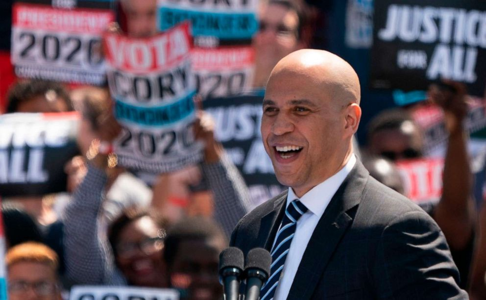 PHOTO: Presidential hopeful Cory Booker addresses his Hometown Kickoff of the Justice For All Tour, April 13, 2019 in Newark, N.J.