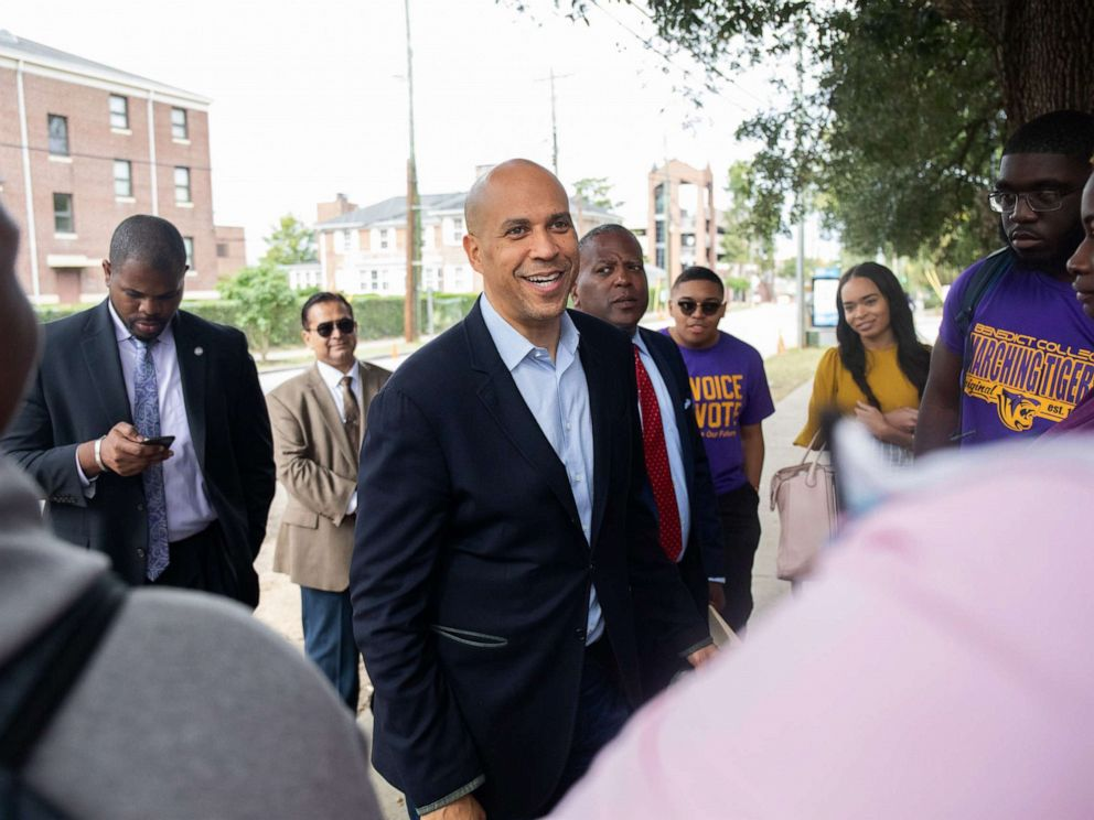 PHOTO: Senator Cory Booker, a Democrat from New Jersey and 2020 presidential candidate, center, speaks with students during the Second Step Presidential Justice Forum at Benedict College in Columbia, S.C., Oct. 26, 2019.