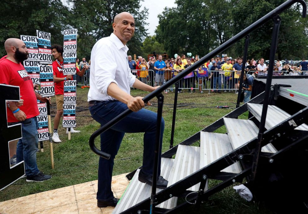 PHOTO: Democratic presidential candidate Sen. Cory Booker prepares to speak at the Polk County Democrats Steak Fry, Sept. 21, 2019, in Des Moines, Iowa.
