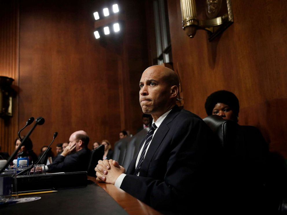 PHOTO: Sen. Cory Booker listens to Republican senators speak after colleagues walked out of a Senate Judiciary Committee meeting, Sept. 28, 2018 in Washington, D.C. during discussions on the nomination of Judge Brett Kavanaugh to the U.S. Supreme Court.