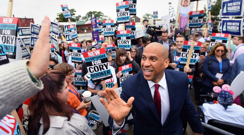 PHOTO: Democratic presidential candidate and Senator Cory Booker greets supporters at the New Hampshire Democratic Party state convention in Manchester, N.H., Sept. 7, 2019.