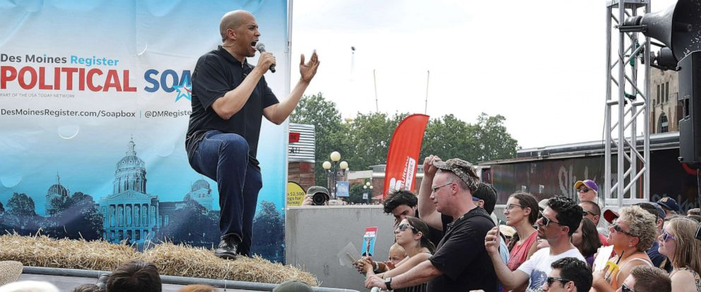 PHOTO: Democratic presidential candidate Sen. Cory Booker delivers a 20-minute campaign speech at the Des Moines Register Political Soapbox at the Iowa State Fair August 10, 2019, in Des Moines, Iowa.
